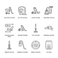 Vacuum cleaners colored flat line icons. Different vacuums types - industrial, household, handheld, robotic, canister Royalty Free Stock Photo