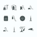 Vacuum cleaners flat glyph icons. Different vacuums types - industrial, household, handheld, robotic, canister, wet dry Royalty Free Stock Photo