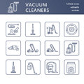 Vacuum cleaners flat line icons. Different vacuums types - industrial, household, handheld, robotic, canister, wet dry