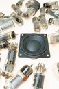 Vacuum electronic tubes and not wired loudspeaker Royalty Free Stock Photo