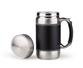 Vacuum travel mug stainless steel Stock Photos