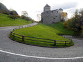 Vaduz castle and a road in lichtenstein Stock Images