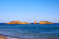 Vai beach beautiful rock before sunset on crete Stock Images