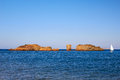Vai beach beautiful rock before sunset on crete Royalty Free Stock Images