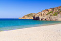 Vai beach with blue lagoon on crete greece Stock Photo
