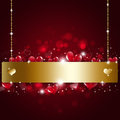 Vakantie valentine golden notice background Royalty-vrije Stock Afbeelding