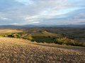 Val d'orcia view over the typical rolling hills of the in tuscany italy Royalty Free Stock Photo