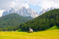 Val di funes in dolomites st johann church santa maddalena italy Stock Photo