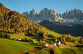 Val di funes in the dolomites st magdalena or santa maddalena with its characteristic church front of geisler or odle mountain Royalty Free Stock Images
