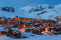 Val thorens by night panorama of alps mountains france Royalty Free Stock Images