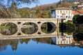 Valdevez ancient bridge and village of arcos de in minho portugal Royalty Free Stock Image