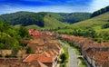 Valea viilor in transylvania aerial view of homes the saxon village of sibiu county romania Royalty Free Stock Photo