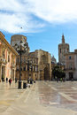 Valencia april virgin square with the valencia cathedral a and basilica of on in spain is Stock Photo