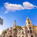 Valencia ayuntamiento city town hall building spain and square in Stock Photo