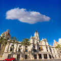 Valencia ayuntamiento city town hall building spain and square in Stock Image