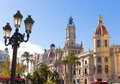 Valencia ayuntamiento city town hall building spain and square in Stock Photography