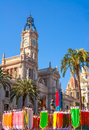 Valencia ayuntamiento city town hall with fallas flags colorful in spain Royalty Free Stock Images