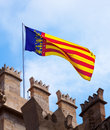 Valencia flag over lonja de la seda Royalty Free Stock Photo