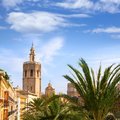 Valencia historic downtown el miguelete and cathedral micalet de la seu in spain Royalty Free Stock Photography