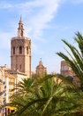 Valencia historic downtown el miguelete and cathedral micalet de la seu in spain Royalty Free Stock Photo