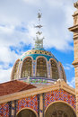 Valencia mercado central market outdoor dome spain with parrot in Stock Photo