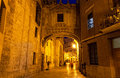 Valencia at night spain street in historical speak rapidly the cities of Royalty Free Stock Photos