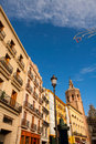 Valencia plaza de la reina with miguelete micalet and cathedral at spain Stock Images
