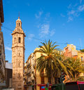 Valencia plaza de la reina with santa catalina church tower at spain Stock Photos