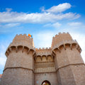 Valencia torres de serrano towers in spain it was the fort entrance city door Stock Images