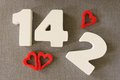 Valentin date of white wood letters Stock Photography