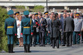 Valentina matviyenko dmitry medvedev sergey nary moscow may naryshkin shoygu at the ceremony of laying flowers to the tomb of Stock Image
