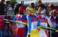 Valentina shevchenko sochi russia february at the finish of ladies skiathlon km classic km free of sochi xxii olympic winter games Stock Photography