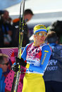 Valentina shevchenko sochi russia february at the finish of ladies skiathlon km classic km free of sochi xxii olympic winter games Royalty Free Stock Images