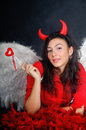 Valentine angel or devil Royalty Free Stock Photo