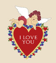 Valentine angel style vintage postcard with tender cartoon laying on big red heart Royalty Free Stock Photography