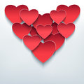 Valentine background with 3d hearts cutting paper