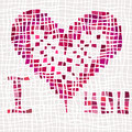 Valentine background of heart with different textures illustration Stock Image