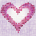 Valentine background of heart with different textures illustration Stock Photos