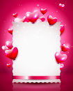 Valentine background modern with empty paper an flying hearts Stock Images