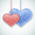 Valentine background two fluffy hearts vector illustration Stock Photos