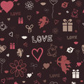 Valentine background vector illustration of pattern decorated with red bow and sketched st valentine's day symbols Royalty Free Stock Photos