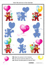 Valentine bears shadow game s day visual puzzle with teddy hearts balloons gifts and potted flowers match the pictures to their Royalty Free Stock Image
