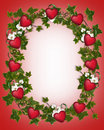Valentine Border Ivy Wreath with Hearts Royalty Free Stock Photos