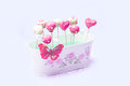 Valentine cake pops decorated with sugar hearts for s day in a flowerpot Stock Images