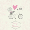 Valentine card be my vintage romantic background with bicycle flowers cat and vintage frame Stock Photo