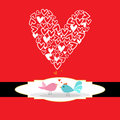 Valentine card-birds Stock Images