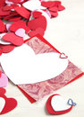 Valentine card blank s day and decoration hearts Stock Photography