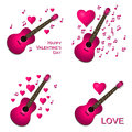 Valentine card collection of pink guitars with hearts illustrations Stock Photo