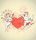 Valentine card with cupids vintage for valentines day red heart and Stock Images
