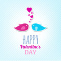 Valentine Card With Cute Birds Royalty Free Stock Image